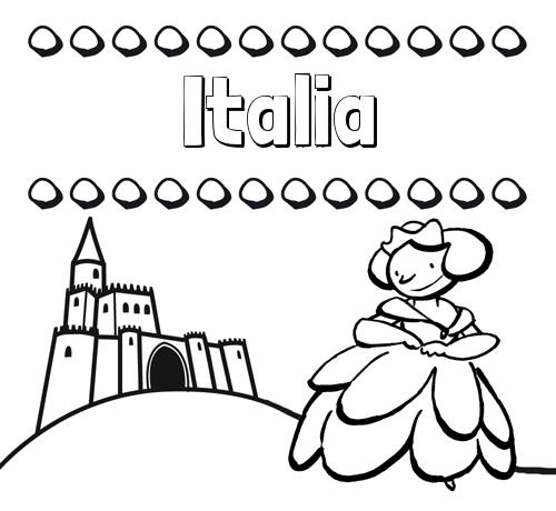 Nombre Italia: Dibujos para colorear su nombre y una princesa