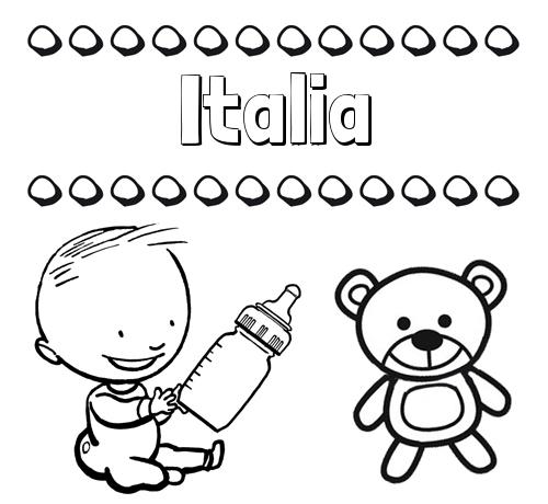 Nombre Italia: Divertidos dibujos de nombres: peluche y bebé