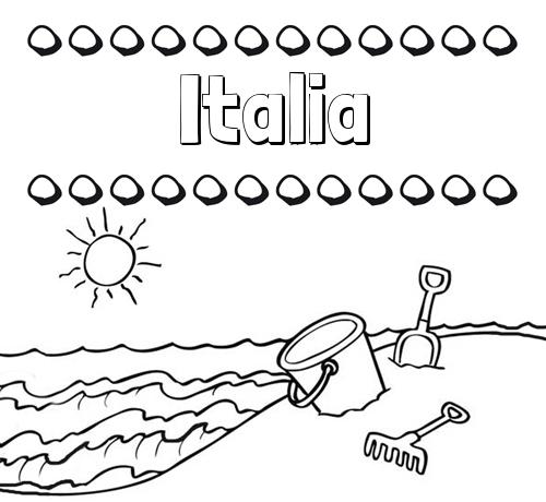Nombre Italia Nombres En La Playa Dibujos Para Colorear