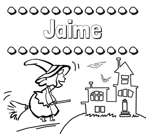 Nombre Jaime: Colorear e imprimir nombres: dibujo de bruja