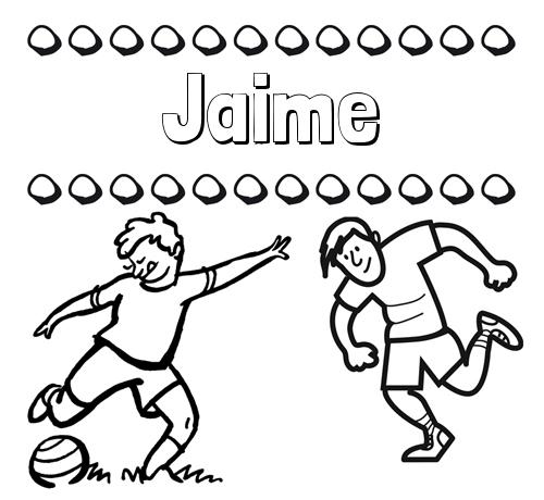 Nombre Jaime: Dibujar las letras de nombres y fútbol