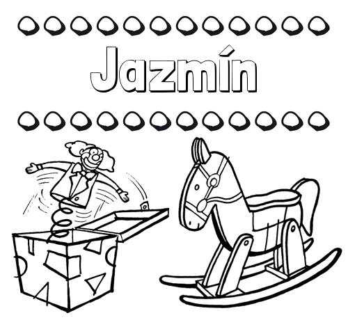 Nombre Jazmín: Colorear los nombres: dibujo con juguetes