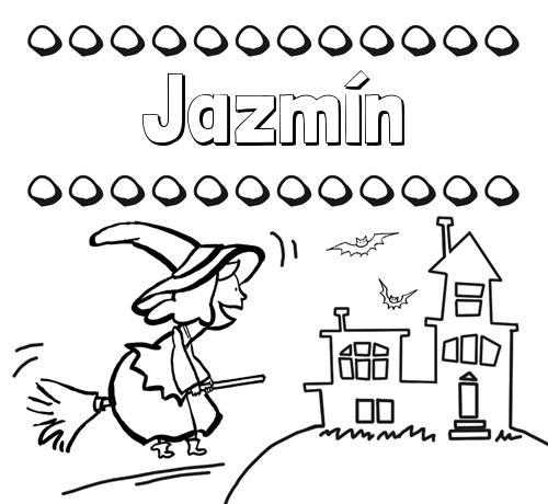 Nombre Jazmín: Colorear e imprimir nombres: dibujo de bruja