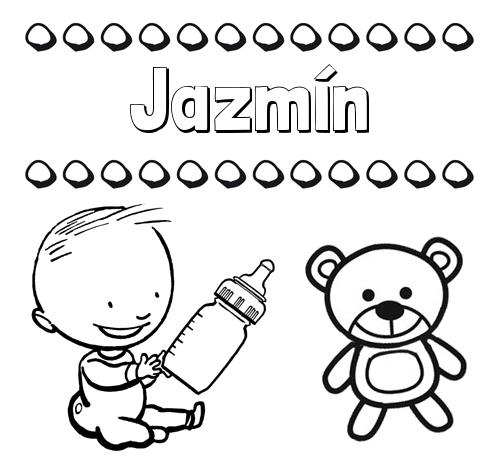 Nombre Jazmín: Divertidos dibujos de nombres: peluche y bebé