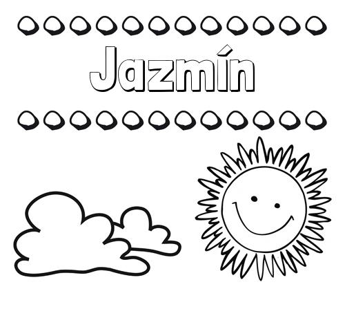 Nombre Jazmín Dibujo De Nombres En El Cielo Para Pintar