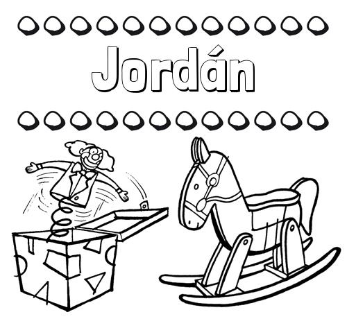 Nombre Jordán: Colorear los nombres: dibujo con juguetes