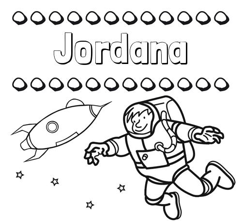 Nombre Jordana: Dibujo de nombres en el espacio para imprimir