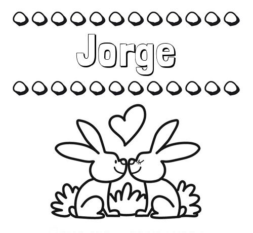 Nombre Jorge: Colorear las letras de los nombres con conejitos