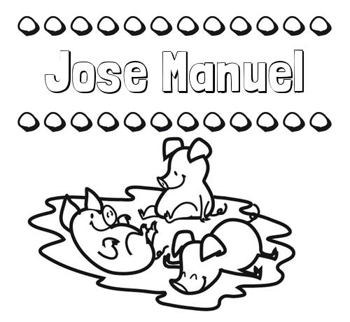 Nombre Jose Manuel: Dibujos para colorear: nombres y los tres cerditos