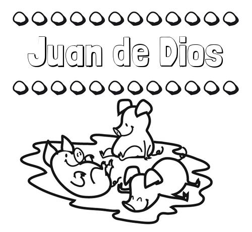 Nombre Juan de Dios: Dibujos para colorear: nombres y los tres cerditos