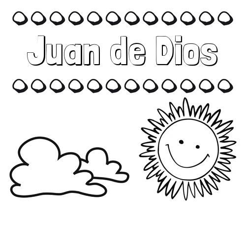 Nombre Juan de Dios: Dibujo de nombres en el cielo para pintar