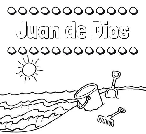 Nombre Juan de Dios: Nombres en la playa: dibujos para colorear
