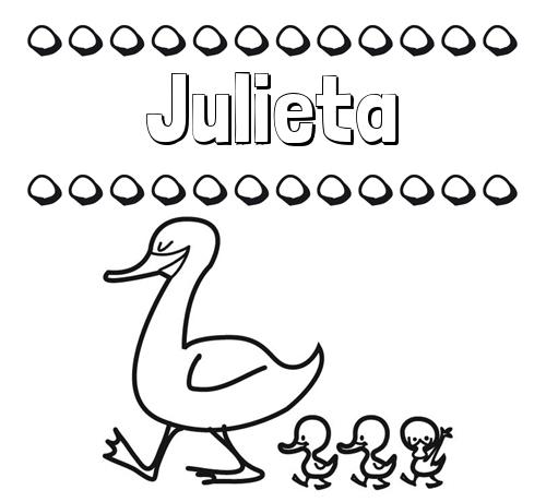 Nombre Julieta Patos dibujos de nombres para imprimir