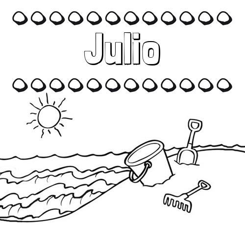 Nombre Julio: Nombres en la playa: dibujos para colorear