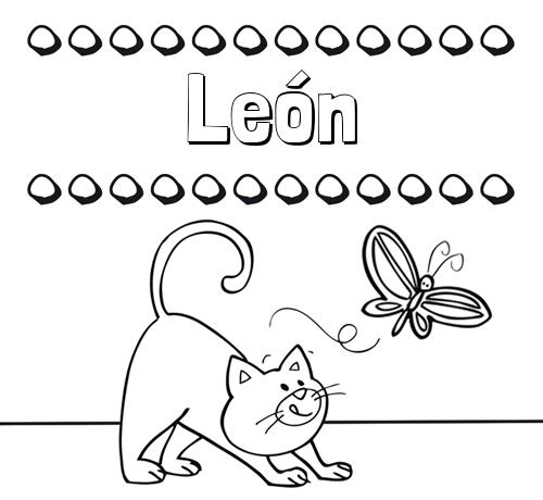 Nombre León: Colorear un dibujo con nombre, gato y mariposa
