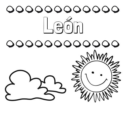 Nombre León: Dibujo de nombres en el cielo para pintar