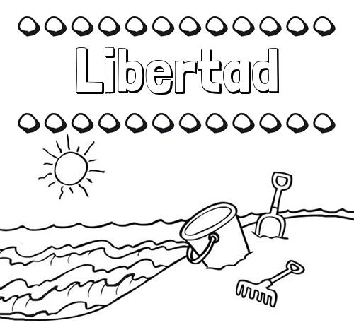Nombre Libertad Nombres En La Playa Dibujos Para Colorear