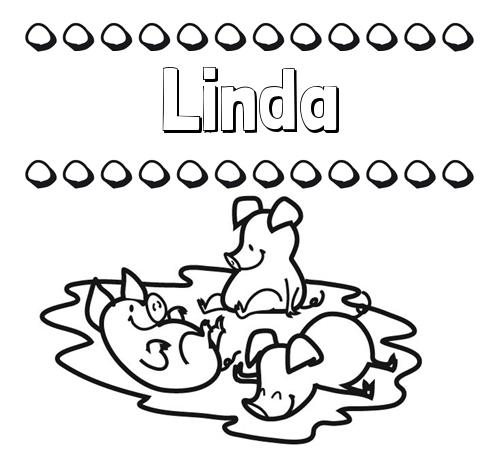 Nombre Linda: Dibujos para colorear: nombres y los tres cerditos