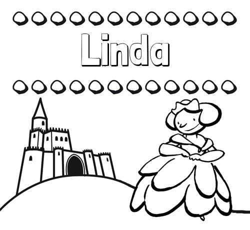 Nombre Linda: Dibujos para colorear su nombre y una princesa