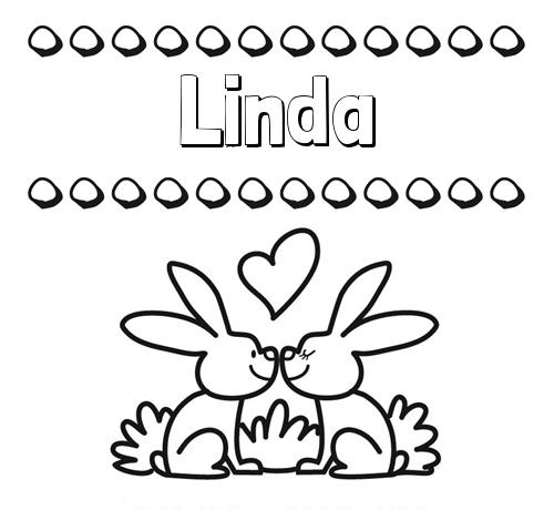 Nombre Linda: Colorear las letras de los nombres con conejitos