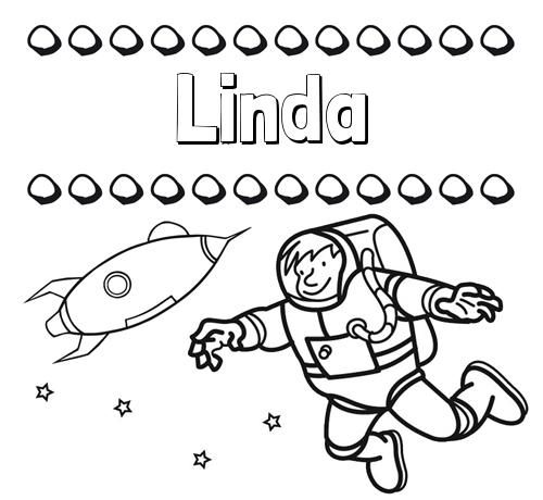 Nombre Linda: Dibujo de nombres en el espacio para imprimir