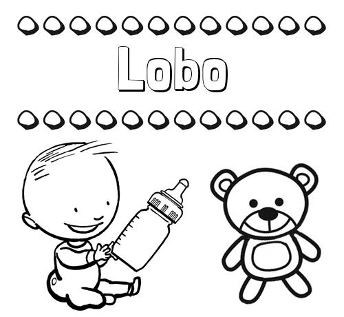 Nombre Lobo: Divertidos dibujos de nombres: peluche y bebé