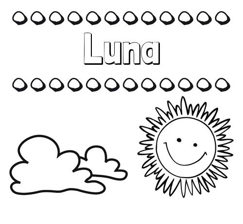 Nombre Luna Dibujo De Nombres En El Cielo Para Pintar
