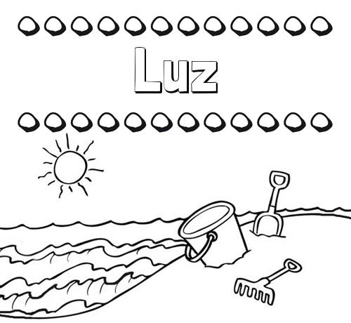 Nombre Luz: Nombres en la playa: dibujos para colorear