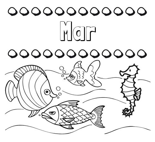 Nombre Mar: Peces: dibujos de nombres para pintar