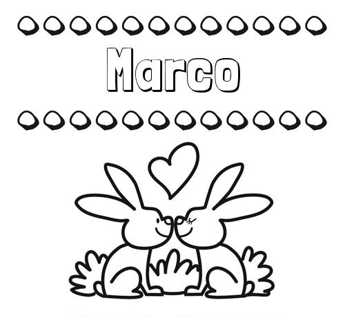 Nombre Marco Colorear Las Letras De Los Nombres Con Conejitos