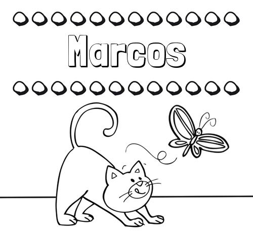 Nombre Marcos Colorear Un Dibujo Con Nombre Gato Y Mariposa
