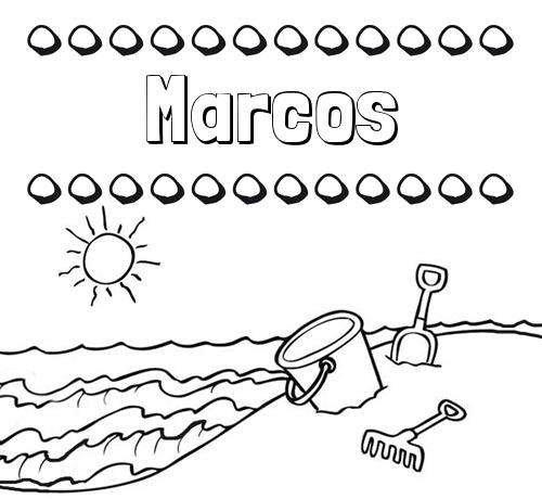 Nombre Marcos Nombres En La Playa Dibujos Para Colorear