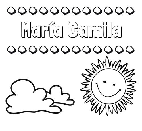 Nombre María Camila: Dibujo de nombres en el cielo para pintar