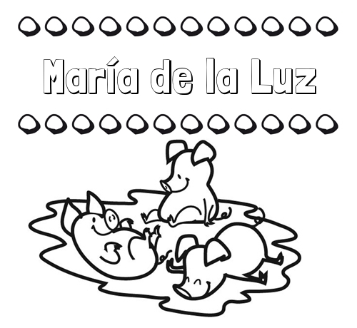 Nombre María de la Luz: Dibujos para colorear: nombres y los tres ...