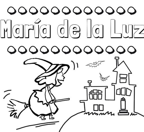 Nombre María de la Luz: Colorear e imprimir nombres: dibujo de bruja