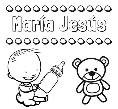 Nombre María Jesús: Divertidos dibujos de nombres: peluche y bebé