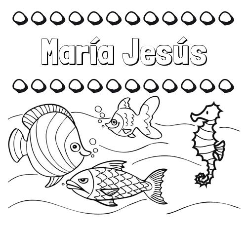 Nombre María Jesús Peces Dibujos De Nombres Para Pintar