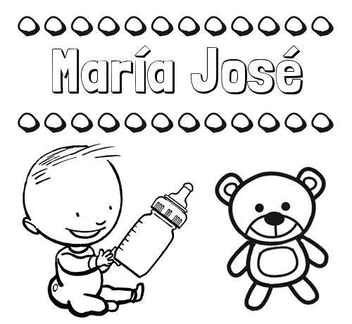 Nombre María José Divertidos Dibujos De Nombres Peluche Y Bebé
