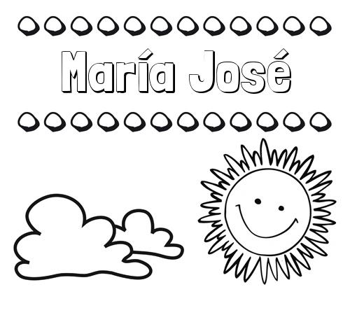 Nombre María José Dibujo De Nombres En El Cielo Para Pintar