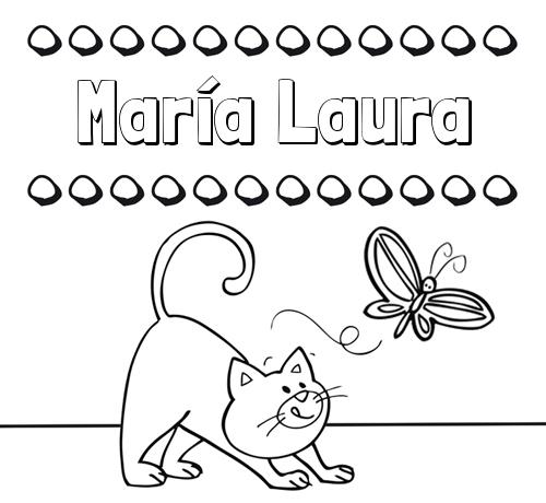 Colorear un dibujo con nombre, gato y mariposa