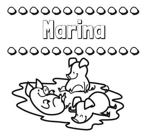 Nombre Marina: Dibujos para colorear: nombres y los tres cerditos
