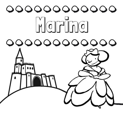 Nombre Marina: Dibujos para colorear su nombre y una princesa