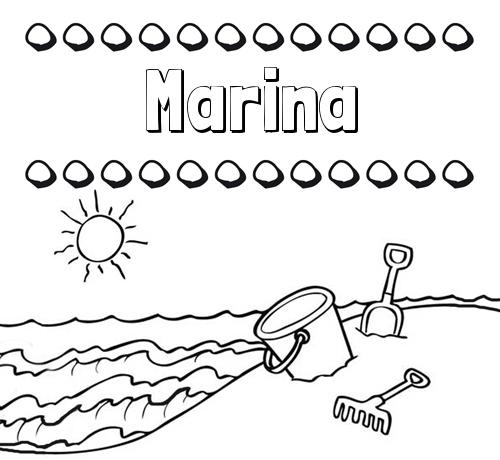 Nombre Marina: Nombres en la playa: dibujos para colorear