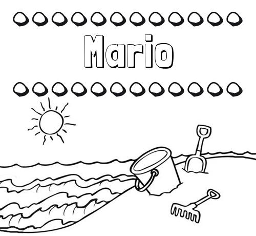 Nombre Mario: Nombres en la playa: dibujos para colorear