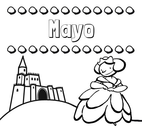 Nombre Mayo: Dibujos para colorear su nombre y una princesa