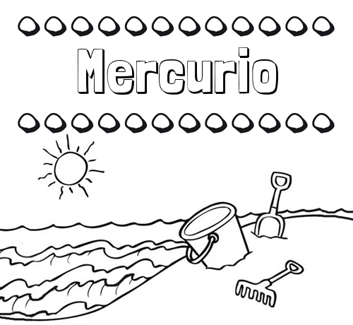 Nombre Mercurio: Nombres en la playa: dibujos para colorear