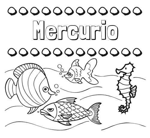 Nombre Mercurio: Peces: dibujos de nombres para pintar