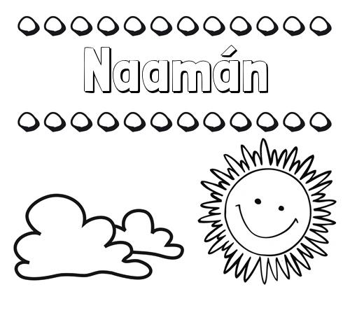 Nombre Naamán: Dibujo de nombres en el cielo para pintar