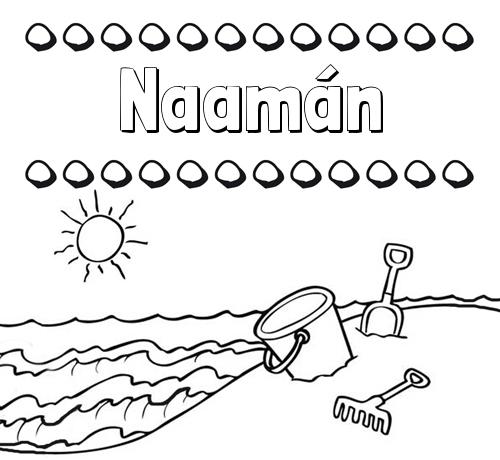 Nombre Naamán: Nombres en la playa: dibujos para colorear