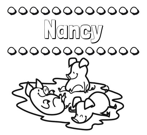 Nombre Nancy: Dibujos para colorear: nombres y los tres cerditos